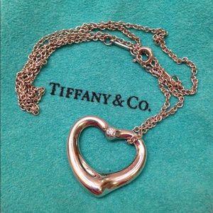 Tiffany Elsa peretti Diamond open heart necklace